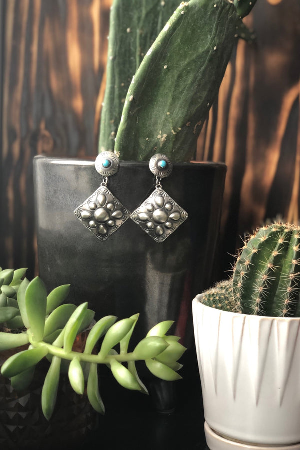 Turquoise Diamond Drop Earrings