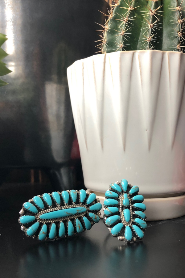 Large Turquoise Cluster Ring - Tin & Turquoise Western Boutique