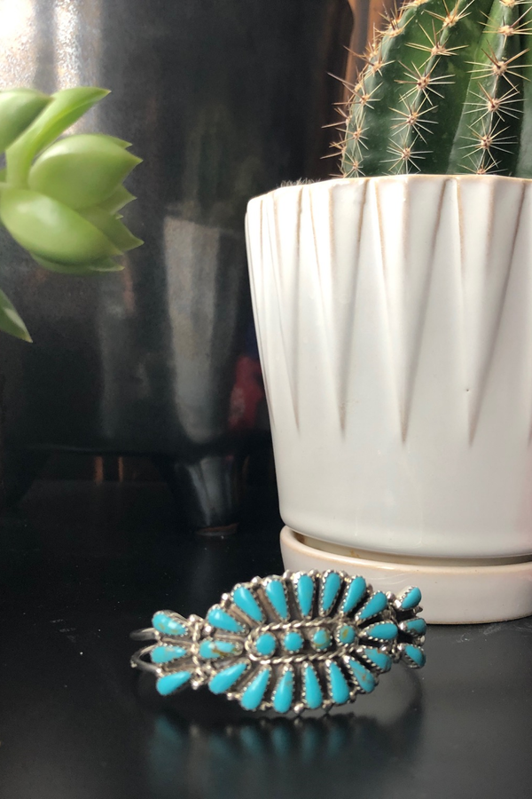 Medium Turquoise Cluster Cuff - Tin & Turquoise Western Boutique