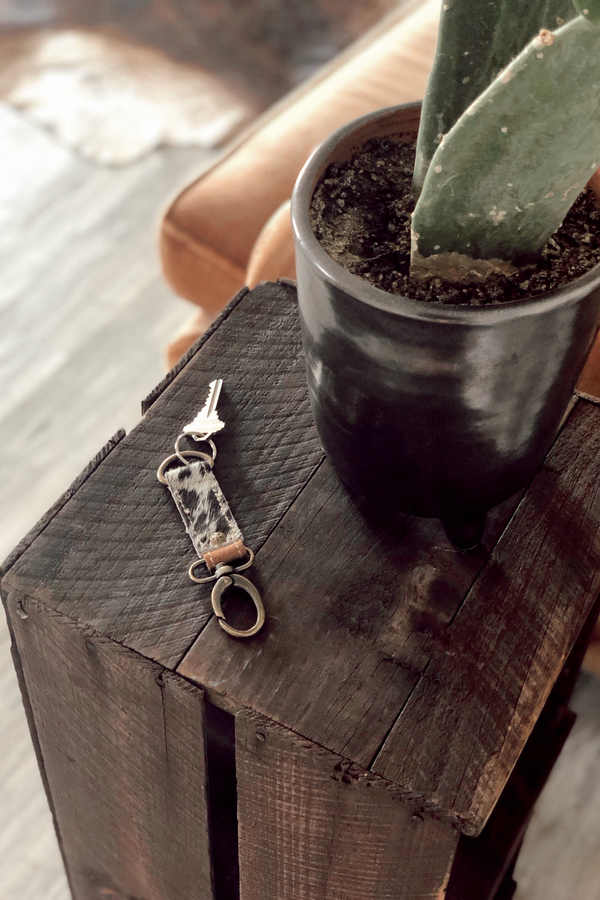 Cowhide Keychain - Tin & Turquoise Western Boutique