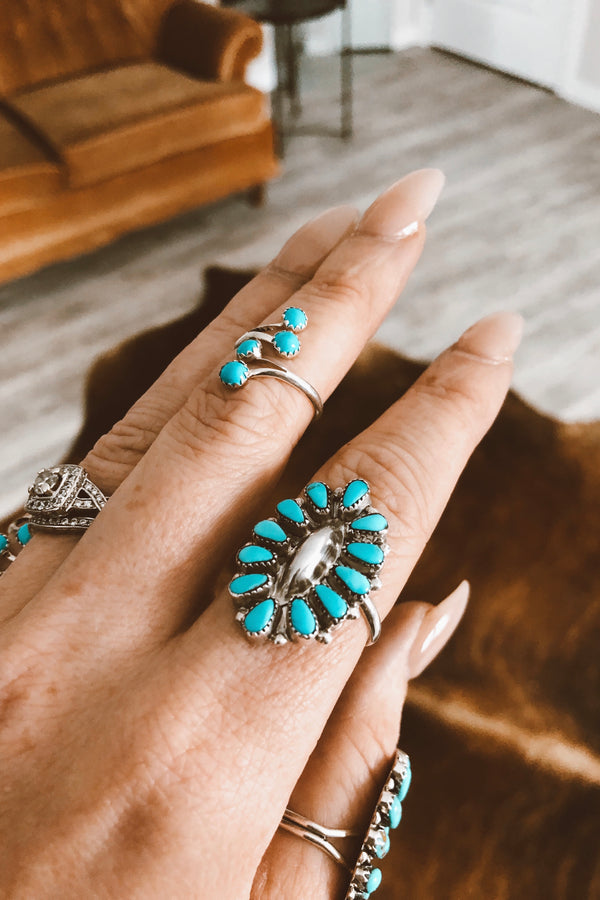 Small Turquoise Cluster Ring - Tin & Turquoise Western Boutique