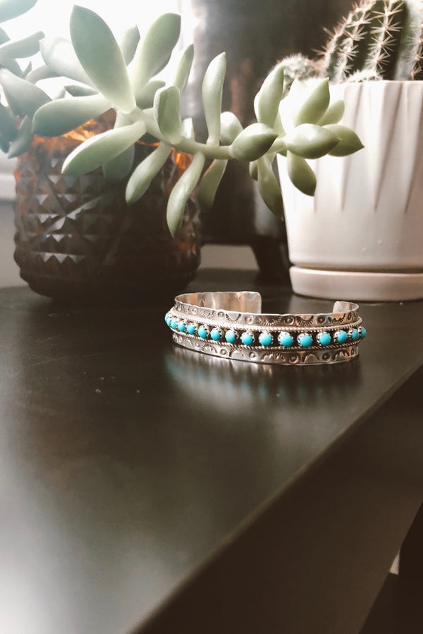 Hand Carved Sterling Silver & Turquoise Cuff - Tin & Turquoise Western Boutique