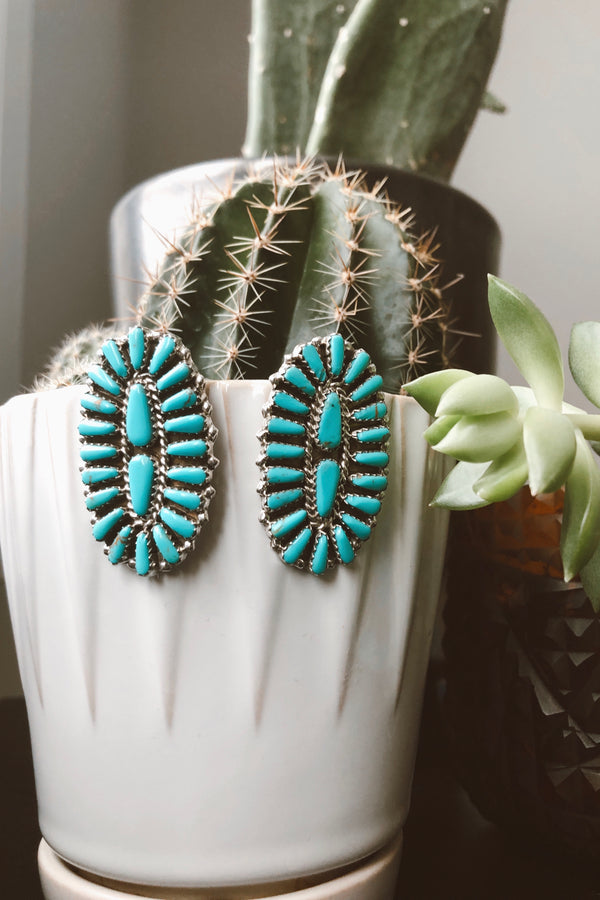 Large Oval Turquoise Cluster Earrings - Tin & Turquoise Western Boutique