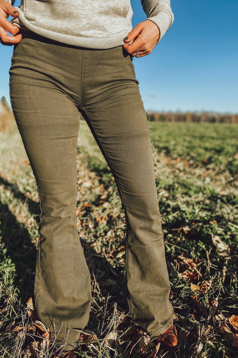 Rock N Roll - Olive Pull On Flares