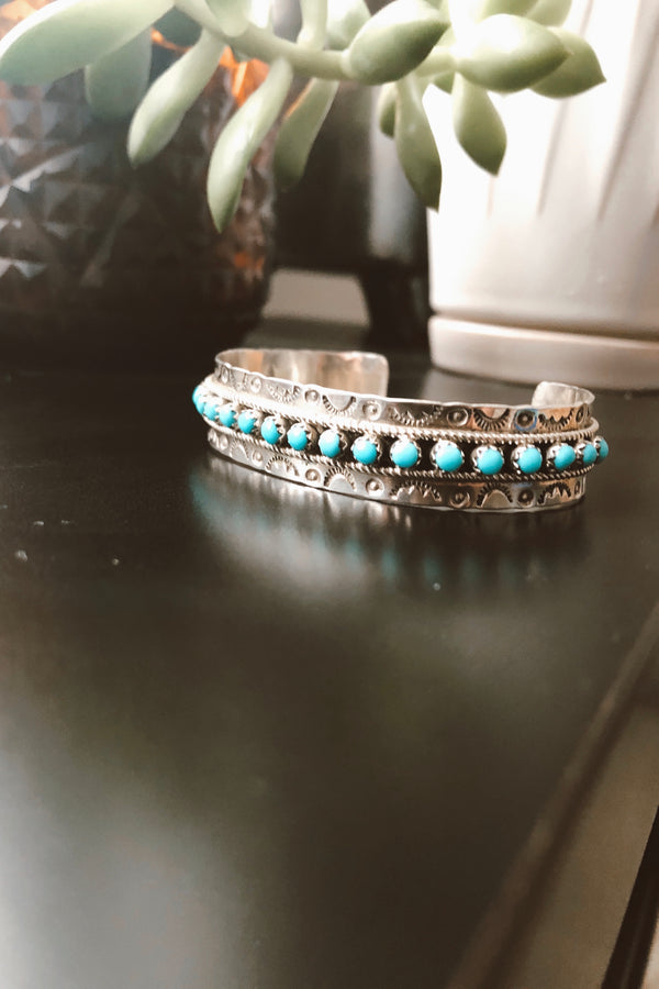 Hand Carved Sterling Silver & Turquoise Cuff