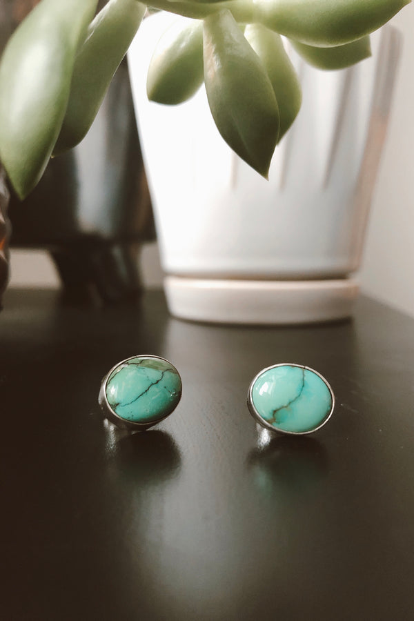 Medium Oval Kingman Turquoise Studs