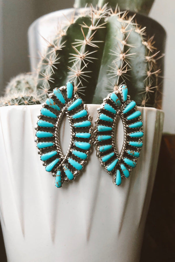 Large Almond Turquoise Cluster Earrings - Tin & Turquoise Western Boutique