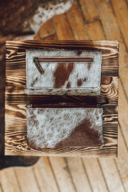The Greeley Cowhide Wallet - Brown & White
