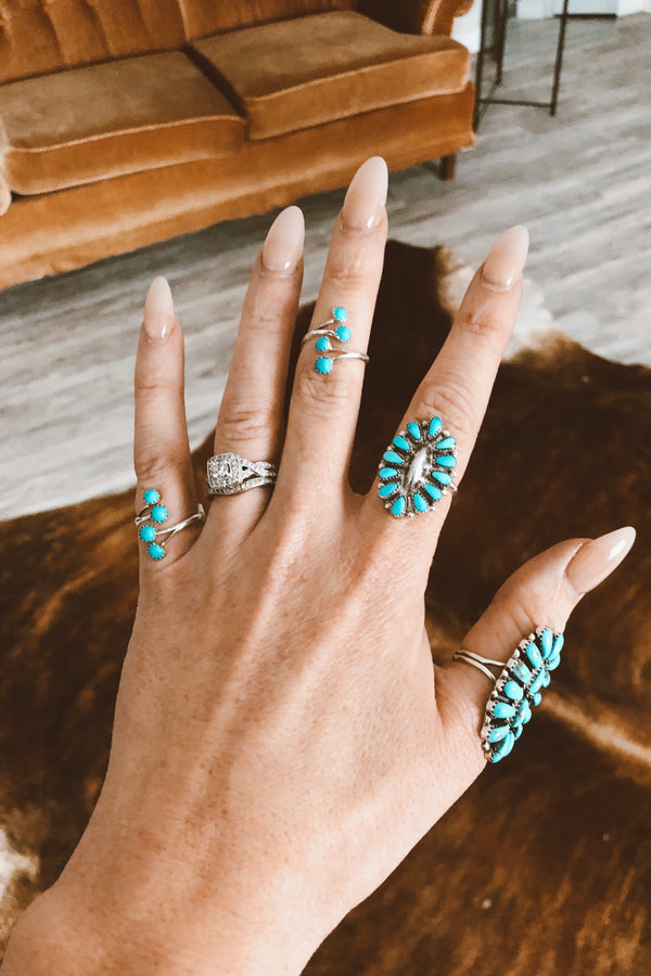 Small Turquoise Cluster Ring