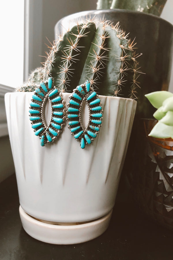 Large Almond Turquoise Cluster Earrings