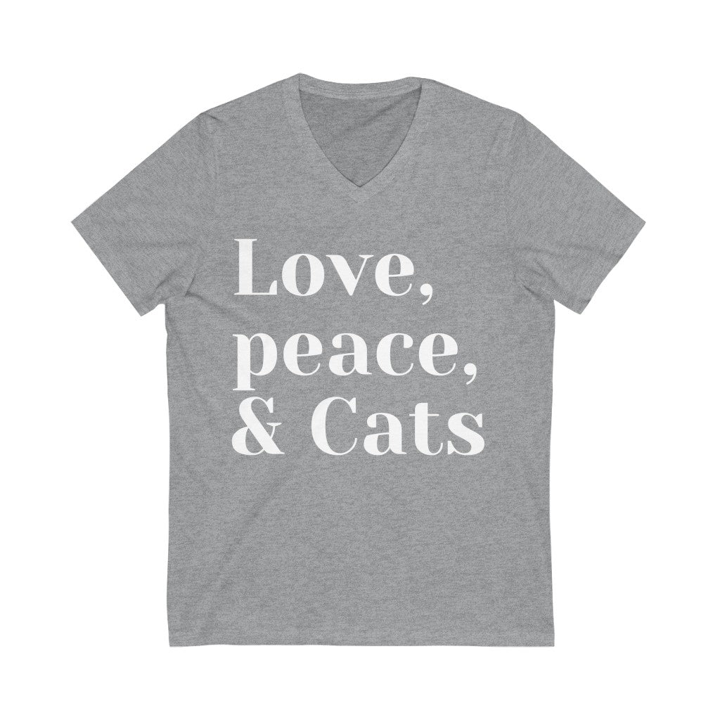Shelly - Love,Peace,Cats - Unisex Jersey Short Sleeve V-Neck Tee