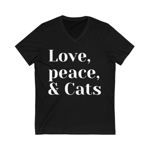 Image of Shelly - Love,Peace,Cats - Unisex Jersey Short Sleeve V-Neck Tee