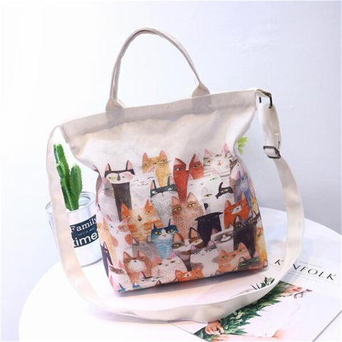 Hazel - CatStory™ Cute Cat Canvas Handbag