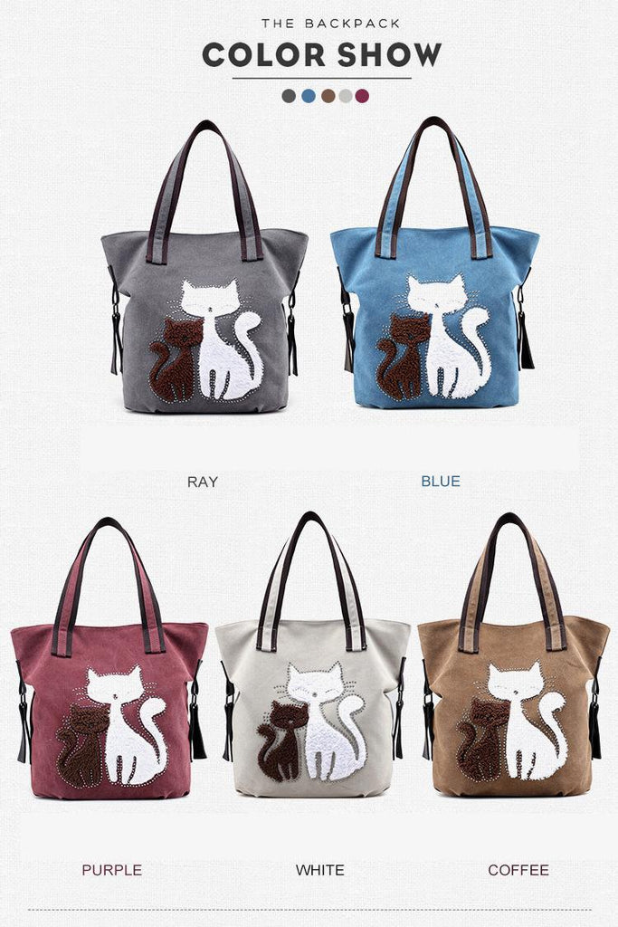 Gail - CatStory™ Cute Cat Canvas Handbag