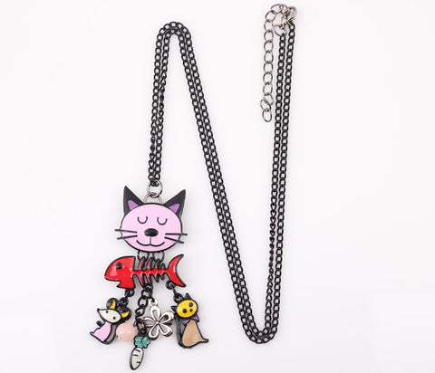 Image of Dorian - CatStory™ Happy Cat Necklace Enamel Pendant