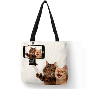 Rosa -  CatStory™ Cat Print Canvas Handbag
