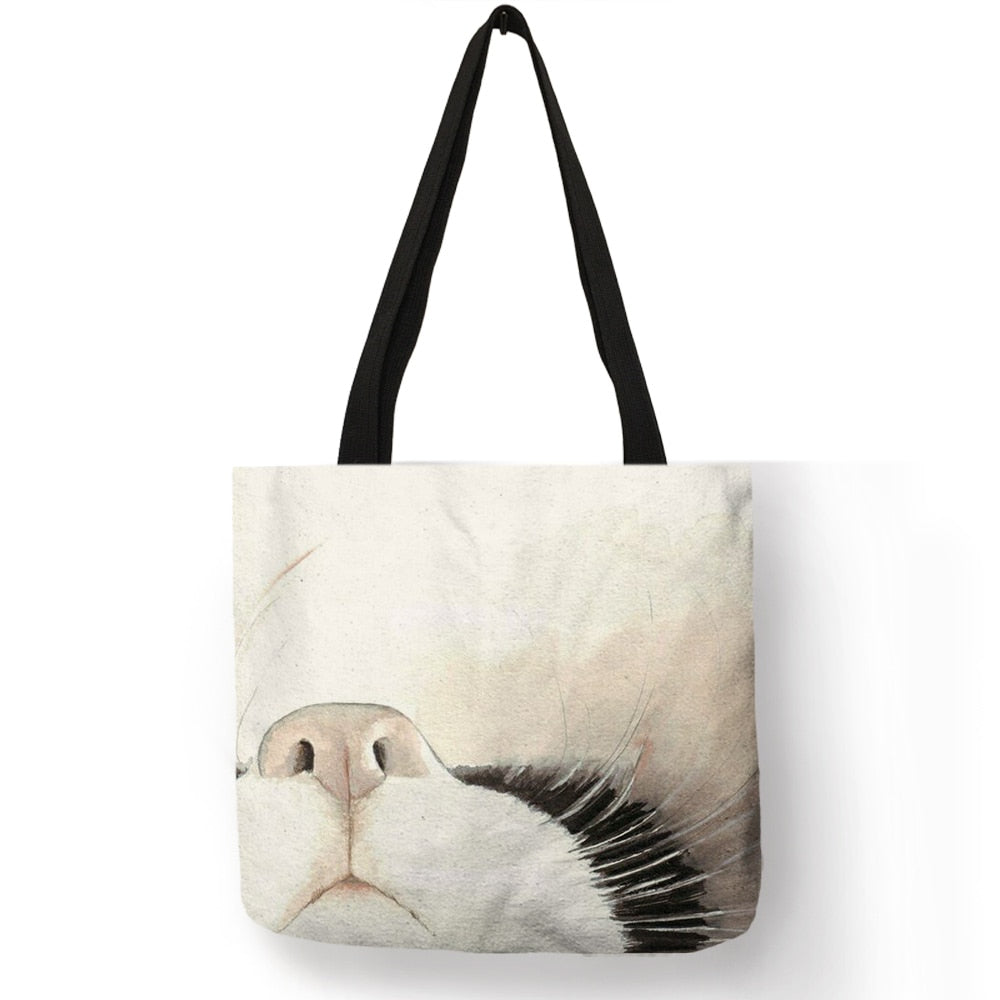 Baby - Watercolor Hand Painted Tote Bags Floral Cute Cat
