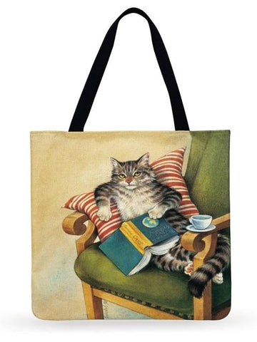 Barbara - CatStory™ Retro Oil Painting Print Tote Bag