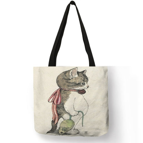 Image of Baby - Watercolor Hand Painted Tote Bags Floral Cute Cat