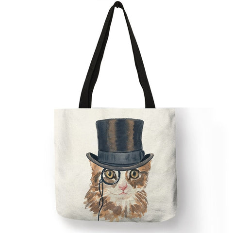 Sylvia -  CatStory™ Cat Print Canvas Handbag
