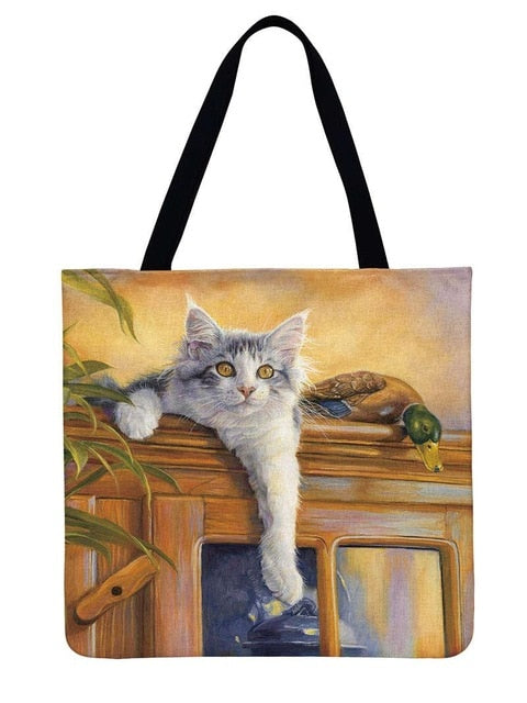 Wendy - CatStory™ Cat Print Canvas Handbag