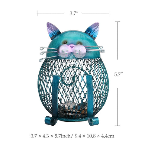 Sean - CatStory™ Blue Metal Coin Bank Cat Shaped