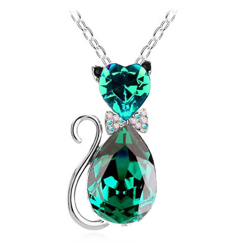 Alison -CatStory™ Crystal Cat Pendant Necklace