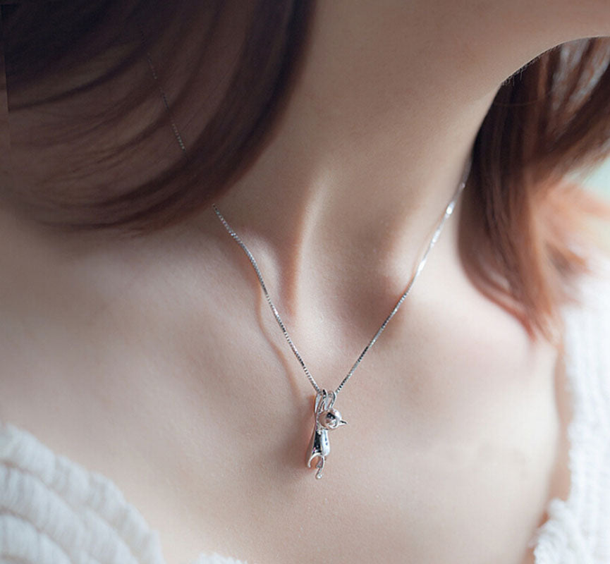 Gloria- CatStory™ Silver Plated Tiny Cat Necklace