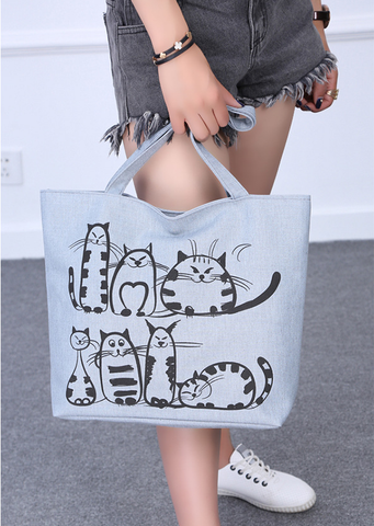 Doris - CatStory™ Cat Printed Shoulder Canvas Bag
