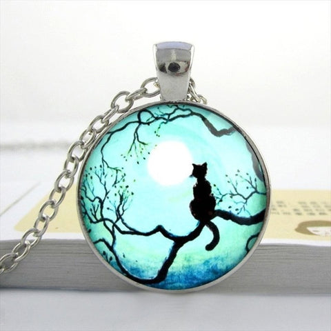 Image of Melinda - CatStory™ Blue Moon Black Cat Necklace