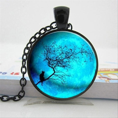 Melinda - CatStory™ Blue Moon Black Cat Necklace