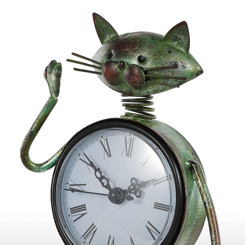 Image of Esty - Cat Handmade Vintage Clock