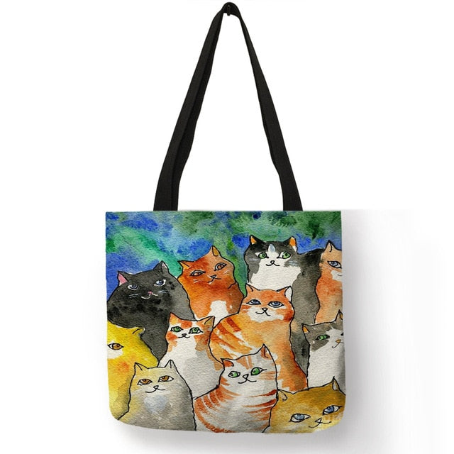 Shila - Unique Animal Footprint Cat Puppy Pattern Tote Bag