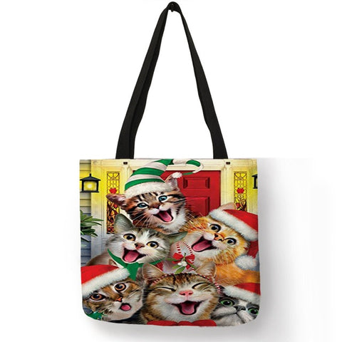 Image of Shila - Unique Animal Footprint Cat Puppy Pattern Tote Bag