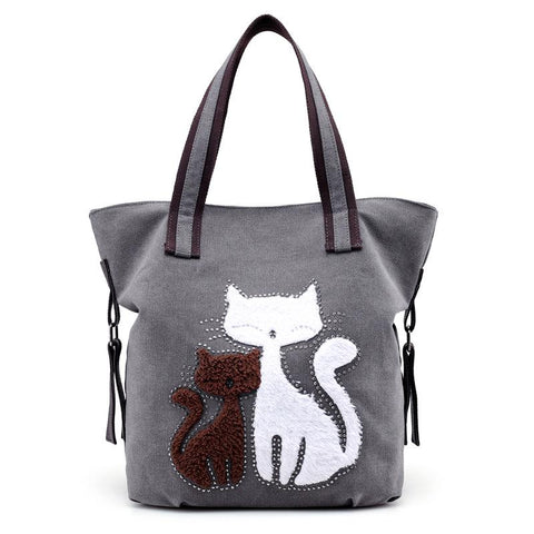 Image of Gail - CatStory™ Cute Cat Canvas Handbag