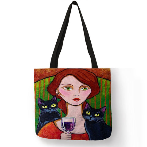 Teresa - CatStory™ Cat Print Canvas Handbag