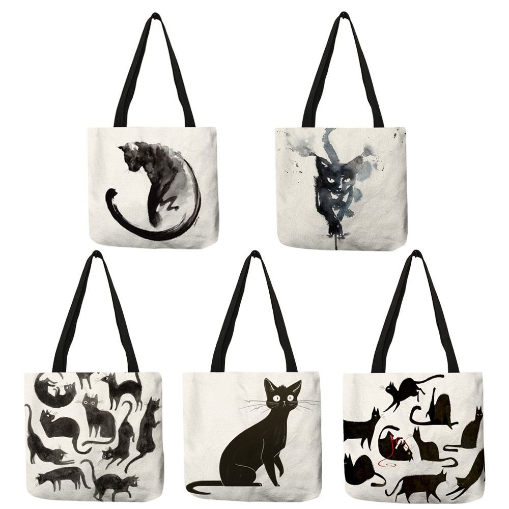 Tammy -  CatStory™ Cat Print Canvas Handbag