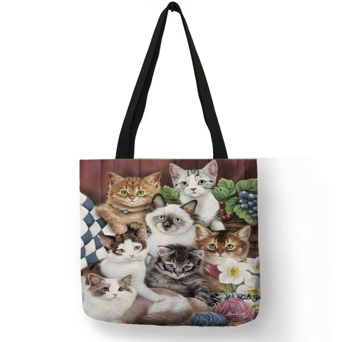 Christina - CatStory™ Cat Print Canvas Handbag
