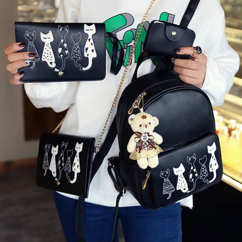 Polly - CatStory™  4pcs/Set Cute Cat Printing Backpack