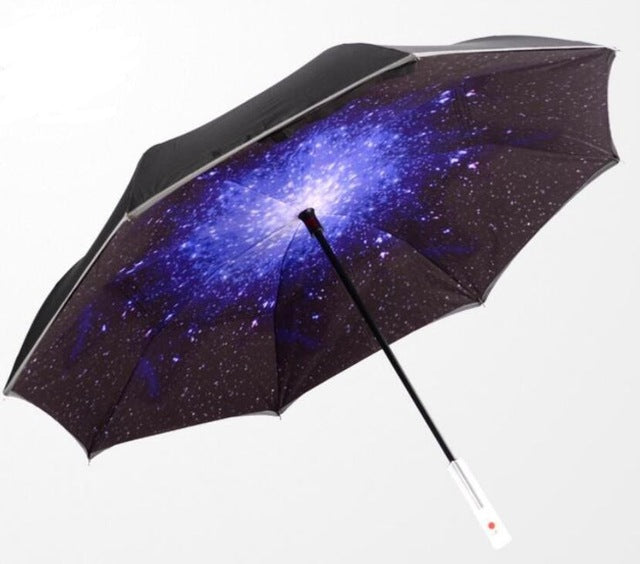 LED Inverted Umbrella with Flashlight for Night Safety