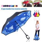 2018 Creative Umbrella With C Shaped Handle Reverse Folding Inverted Double Layer Windproof Rain/UV/ Wind Umbrellas F