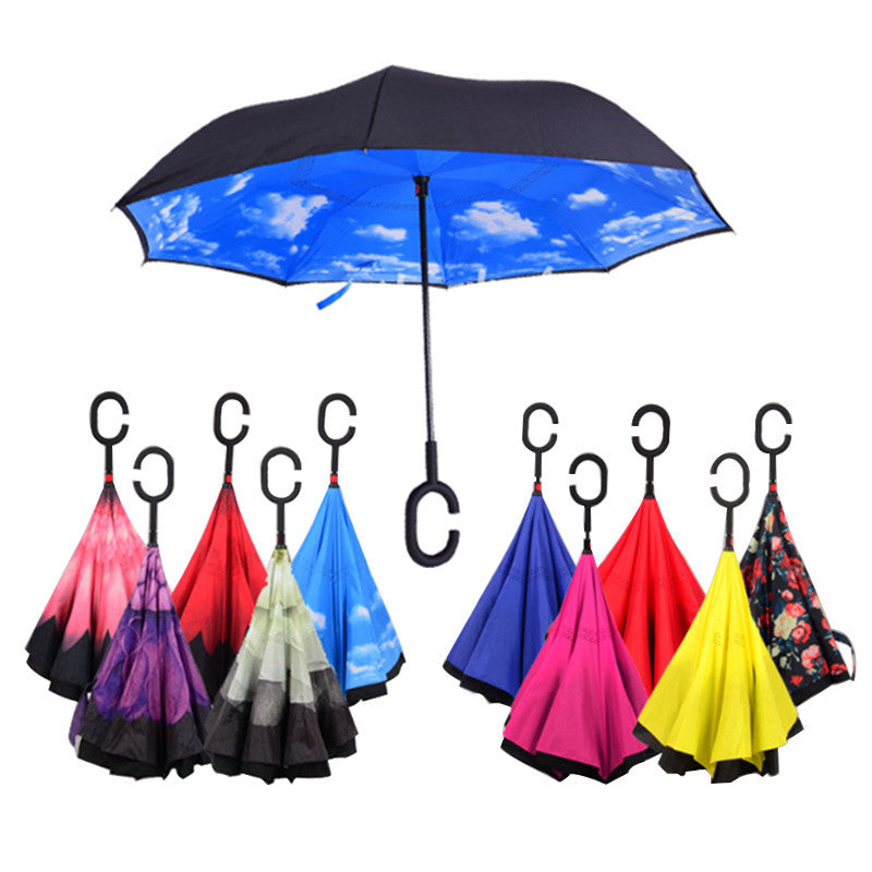 Inverted and Double Layer Windproof Umbrella, Umbrella with UV Protection, C-Shaped Handle