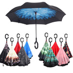 2018 UV Protection Umbrella C-Hook Hands Folding Double Layer Inverted Chuva Umbrella Self Stand Inside Out Rain Windproof