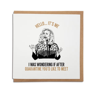 Adele themed greetings card perfect to brighten the mood during lockdown.