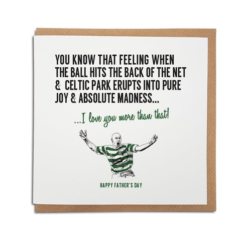 Celtic football club celtic park stadium fathers day card featuring an illustration of club legend Henrik Larsson