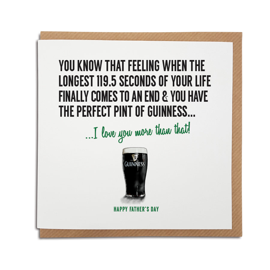 A Guinness themed greetings card. Perfect for Birthday, Father's Day, Valentine's Day, Mother's Day, Anniversary.