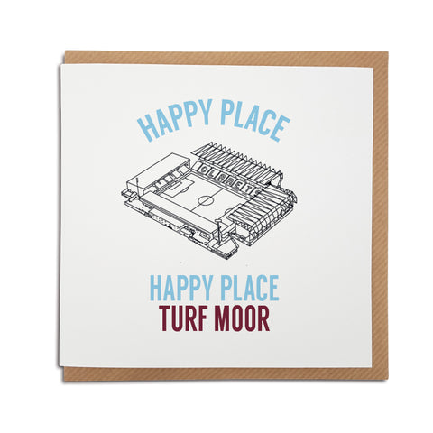 A handmade Burnley Football Club Christmas Card based on Jordan North. A unique card, perfect for any clarets supporters.  Greetings card is printed on high quality card stock.   Based on the hilarious moment where Jordan North, during a trial on I'm a Celebrity came out with the catchphrase 'Happy place, happy place, Turf Moor'  Card reads: Happy place, happy place, Turf Moor (features an illustration of the Turf Moor stadium)