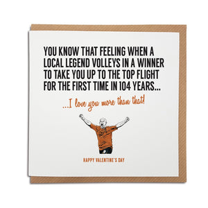 Hull City Football Club Valentine's Day Card. A unique handmade card, perfect for The Tigers supporter
