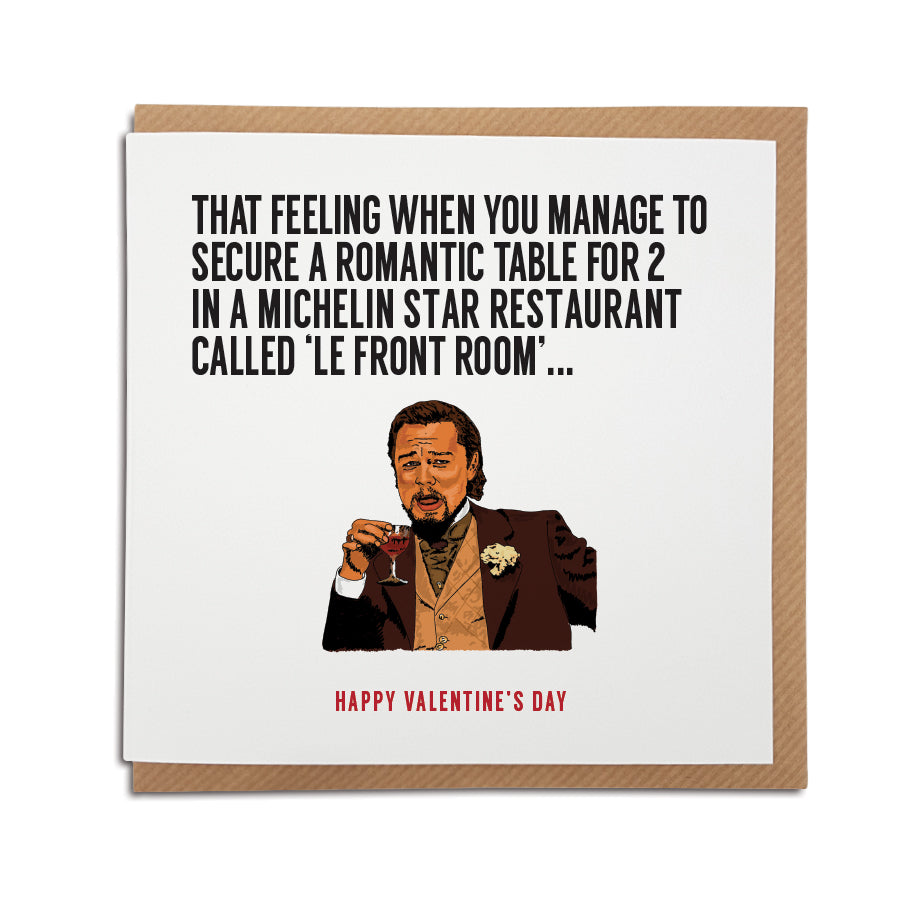 A handmade funny Valentine's Day Card, featuring illustration of Leonardo DiCaprio. Perfect card to put a smile on your partner's face during these strange times.