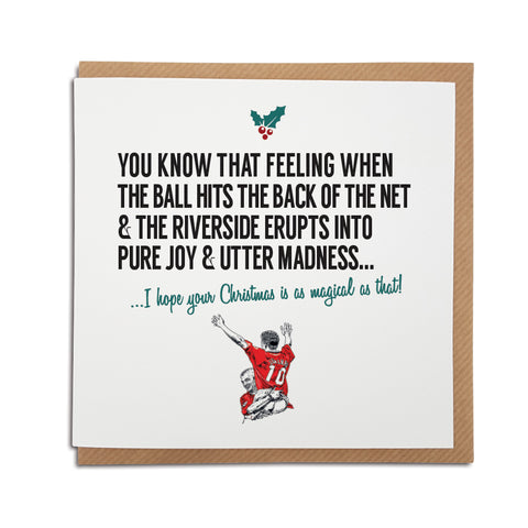A handmade Middlesbrough Football Club Christmas Card designed by A Town Called Home. A unique card, perfect for any Boro supporters.  Greetings card is printed on high quality card stock.   Card reads: You know that feeling when the ball hits the back of the net & the Riverside erupts into pure joy & utter madness... I hope your Christmas is as magical as that! (Features illustration of club legends Juninho & Ravanelli).